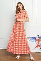 Платье-рубашка из софта летнее, платье-рубашка макси с коротким рукавом, терракотовое в горошек, фото 1