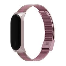 Металлический браслет розово-золотой с розовой полоской для фитнес трекера Xiaomi mi band 5 / Xiaomi mi band 6