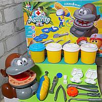 Детский набор для лепки Мистер Зубастик Обезьяна для детей от 3 лет. Игровой набор для лепки