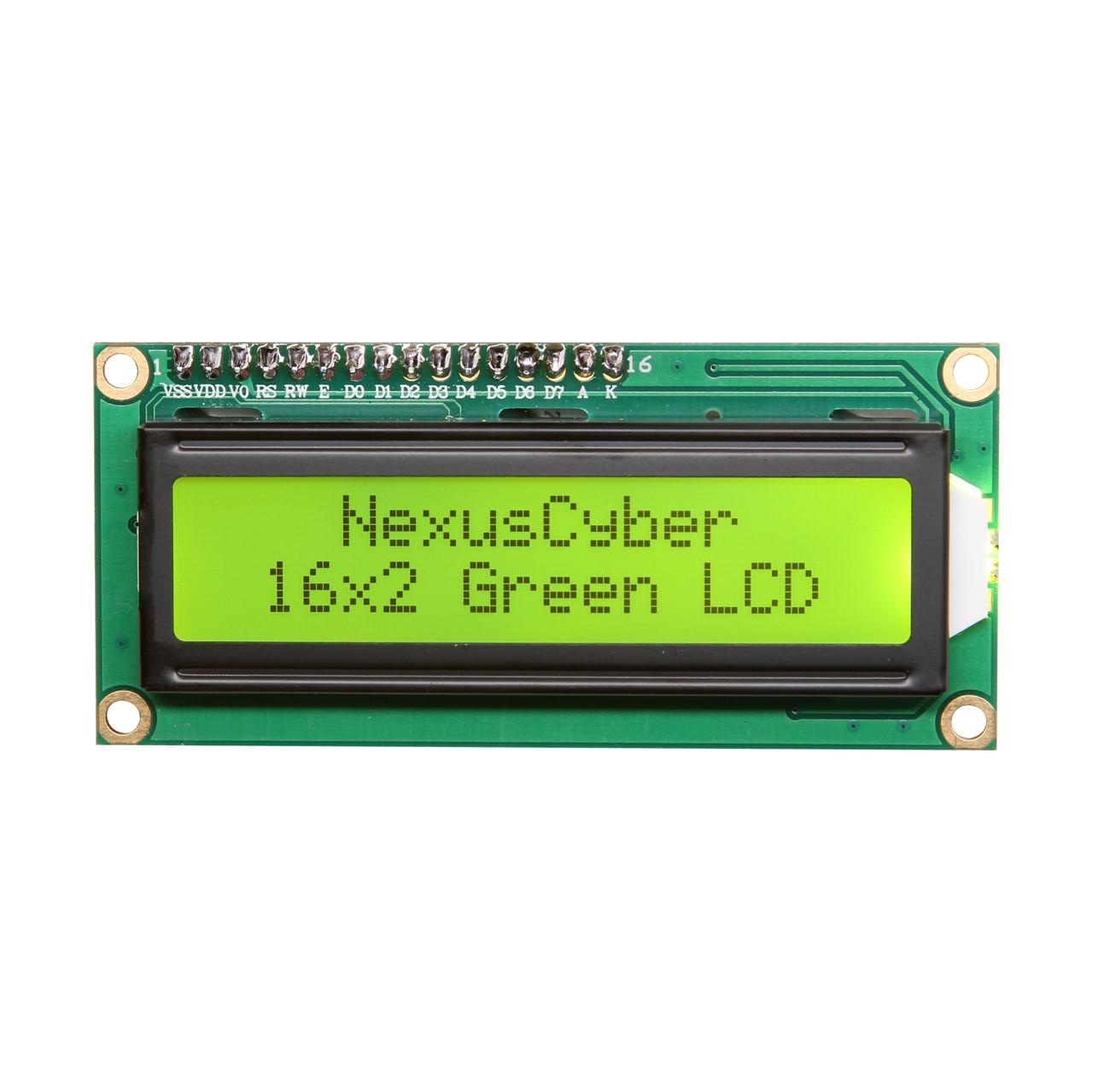 Дворядковий Дворядковий символьний індикатор LCD1602 5V з підсвічуванням (зелений)