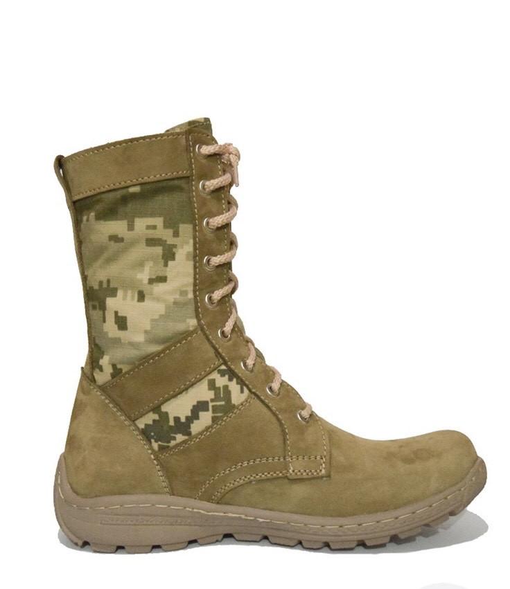 Берцы (ботинки с высокими берцами) кожа Лето вставка ткань камуфляж ММ-14 (пиксель ВСУ) ПУ литая подошва Койот