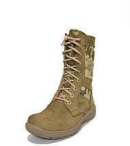 Берцы (ботинки с высокими берцами) кожа Лето вставка ткань камуфляж ММ-14 (пиксель ВСУ) ПУ литая подошва Койот, фото 3