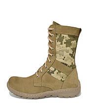 Берцы (ботинки с высокими берцами) кожа Лето вставка ткань камуфляж ММ-14 (пиксель ВСУ) ПУ литая подошва Койот, фото 2
