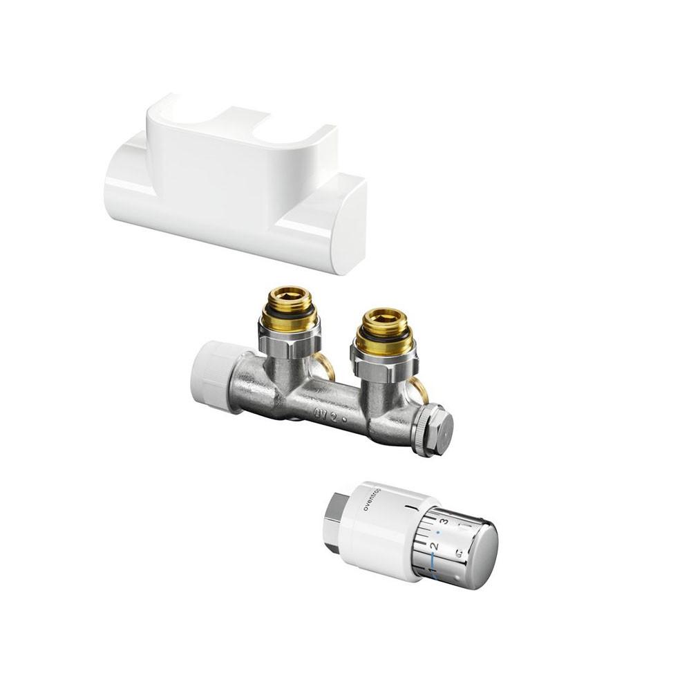 Термостатический комплект Oventrop Multiblock T/Uni SH White для нижнего подключения