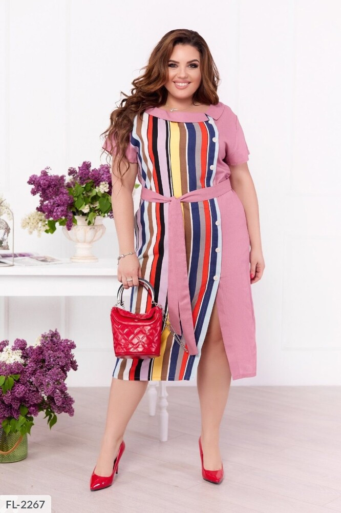 Пряме прогулянкове сукню за коліно з поясом короткий рукав великих розмірів р-ри 48-58 арт. 0189