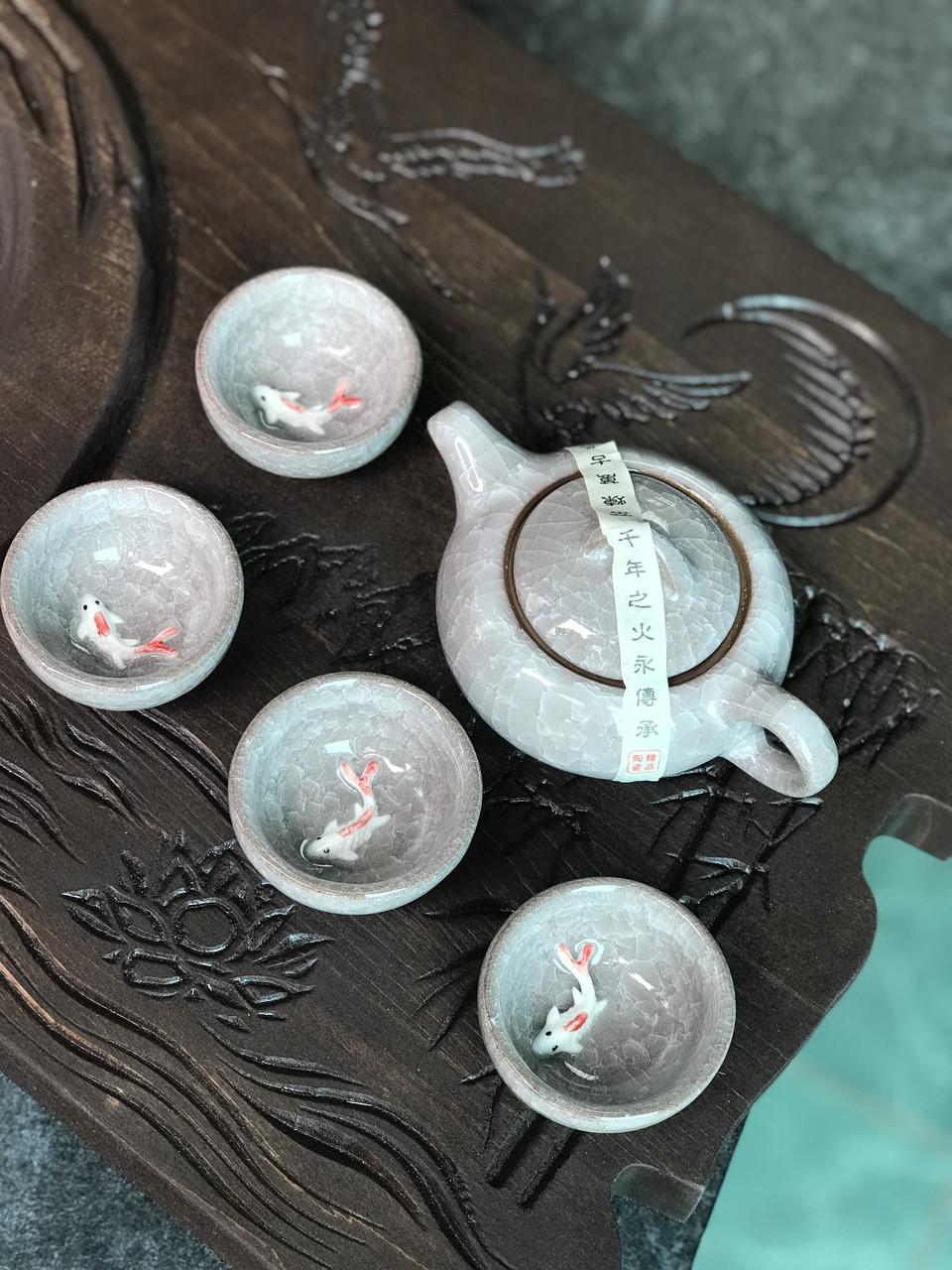 Набір посуду з рибкою глиняний для чайної церемонії Рожевий камінь (сірий) (4 піали+чайник)