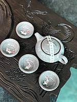 Набір посуду з рибкою глиняний для чайної церемонії Рожевий камінь (сірий) (4 піали+чайник), фото 1