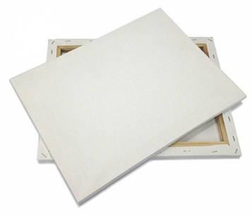 Холст для рисования на подрамнике грунтованный, мелкое зерно, хлопок, боковая натяжка 40х50 см