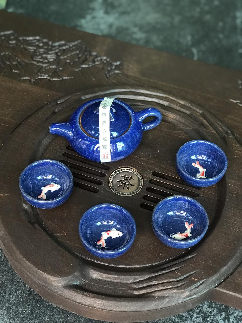 Набор посуды с рыбкой глиняный для чайной церемонии Синий (4 пиалы+чайник)