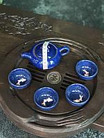 Набор посуды с рыбкой глиняный для чайной церемонии Синий (4 пиалы+чайник), фото 1