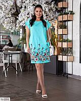Прямое летние  платье свободного кроя с карманами р-ры 48-62 арт. 1467