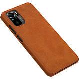 Защитный чехол-книжка Nillkin для Xiaomi Redmi Note 10 4G Qin leather case Brown Коричневый, фото 5