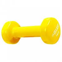 Гантель для фитнеса с виниловым покрытием 1.0 кг Желтый