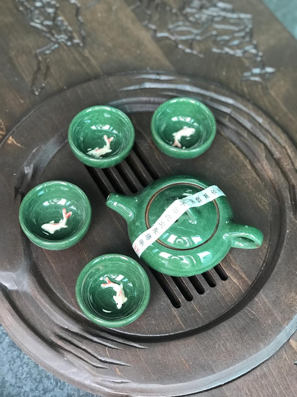 Набор посуды с рыбкой глиняный для чайной церемонии Малахит (4 пиалы+чайник)