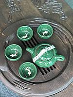 Набор посуды с рыбкой глиняный для чайной церемонии Малахит (4 пиалы+чайник), фото 1