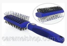 Расчёска Salon PROFESSIONAL двухсторонняя со щетиной продувная 9566 синий