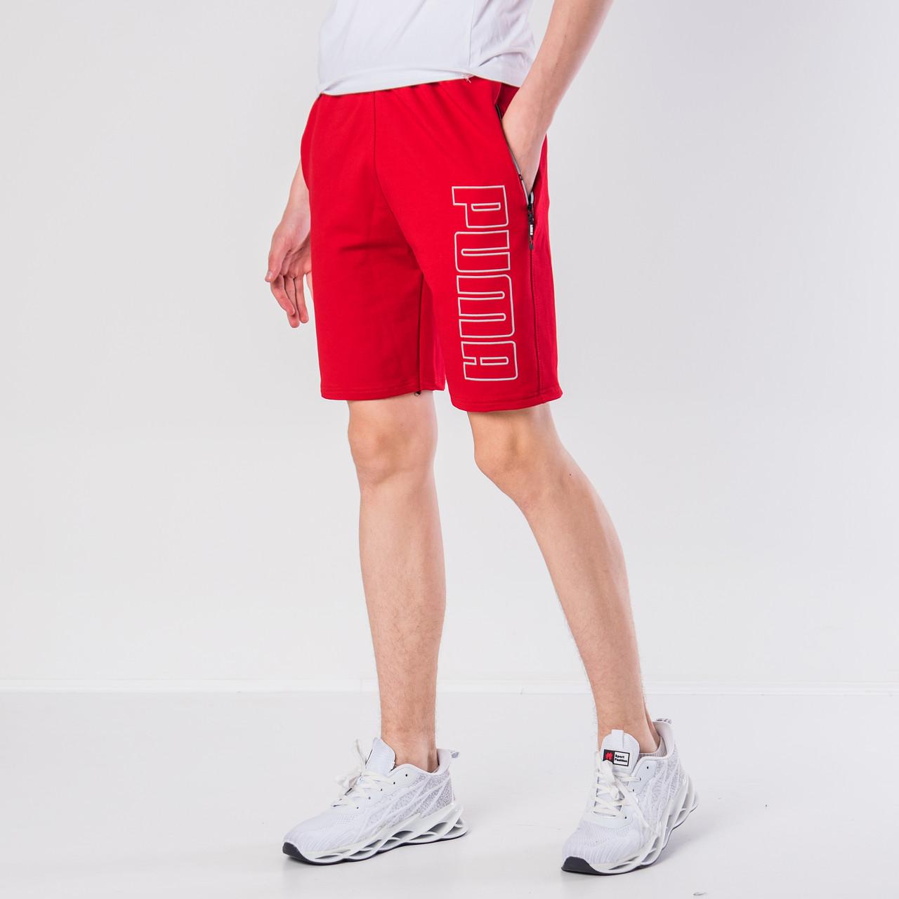 Мужские трикотажные шорты Puma, красного цвета.