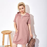 Платье худи с капюшоном и коротким рукавом р-ры 50-56 арт. 0174