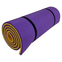 Коврик для фитнеса двухслойный PERTO 1800х600х16 мм Фиолетово-желтый