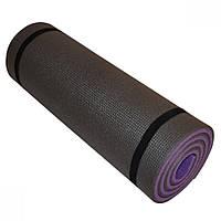 Коврик для фитнеса двухслойный PERTO 1800х600х16 мм Фиолетово-серый