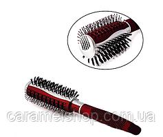 Расчёска SALON PROFESSIONAL круглая со щетиной 9912 красный