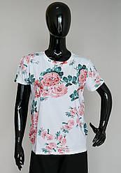 Женская футболка «Пионы» с короткими рукавами