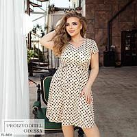 Красива літня сукня з спідницею кльош по коліно в горошок з поясом великих розмірів 50-56 арт. 248