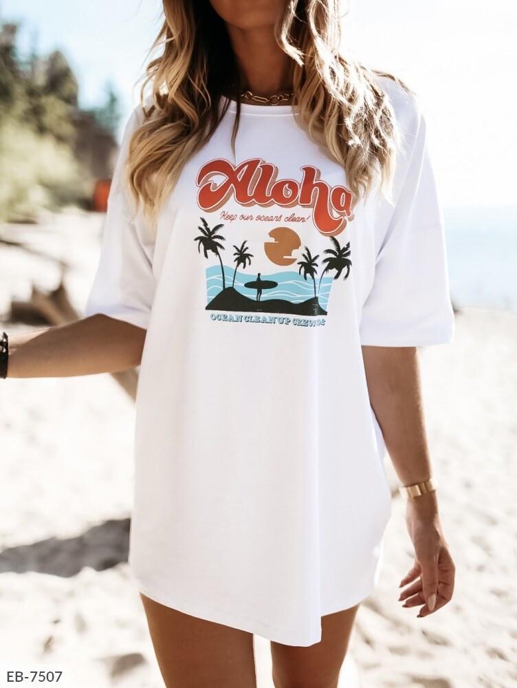 Женская белая туника-футболка