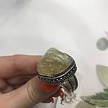 Цитрин 19,4 размер кольцо с натуральным цитрином кольцо с камнем цитрин желтый в серебре Индия, фото 4