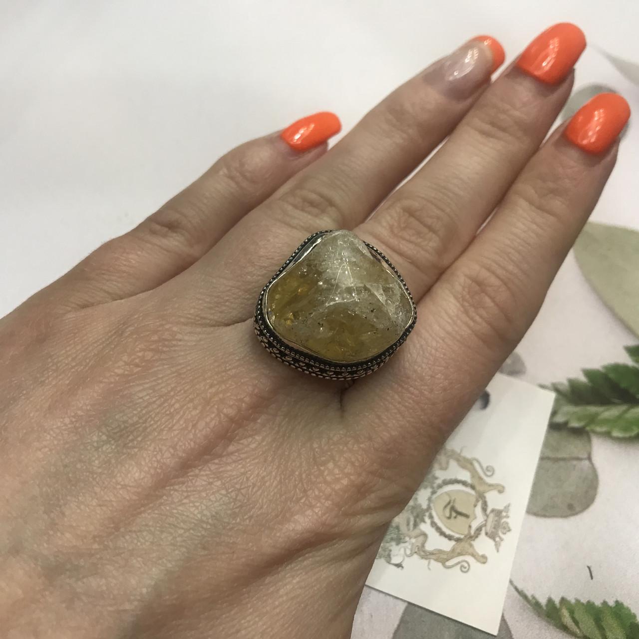 Цитрин 19,4 размер кольцо с натуральным цитрином кольцо с камнем цитрин желтый в серебре Индия