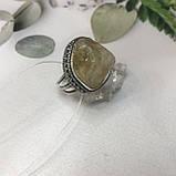 Цитрин 19,4 размер кольцо с натуральным цитрином кольцо с камнем цитрин желтый в серебре Индия, фото 6