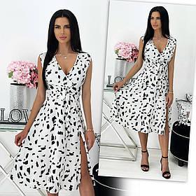 Летнее платье с разрезом из софта: 8 расцветок 24-1440