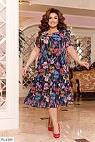 Летние шифоновое платье р-ры 52-58  арт. 2105