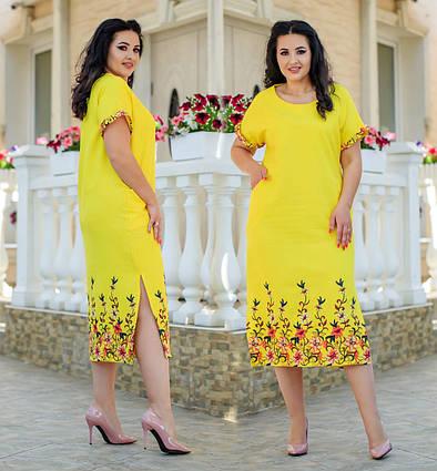 """Летнее женское платье в больших размерах 350 """"Лён Мкси Разрез Вышивка"""" в расцветках"""