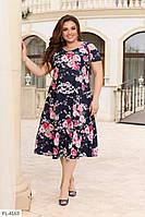 Красивое приталенное софтовое  платье р-ры 52-58 арт. 2032