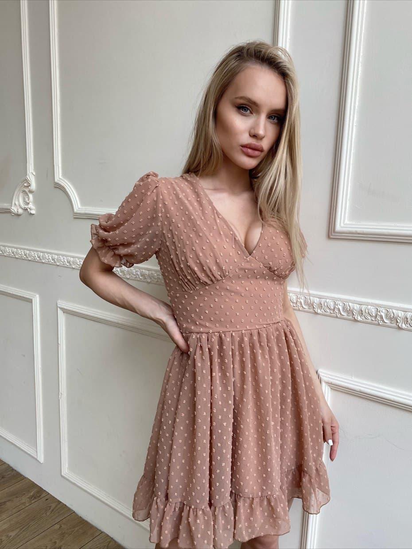 Шифонова сукня з розкльошеною спідницею і короткими рукавами-ліхтариками (р. S, M) 66032604Q