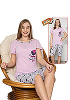 Пижама женская комплект-двойка (бриджи + футболка) ASMA 11058 Сиреневая