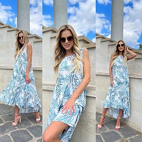 Стильное летнее платье-сарафан свободного фасон из штапеля 35-324