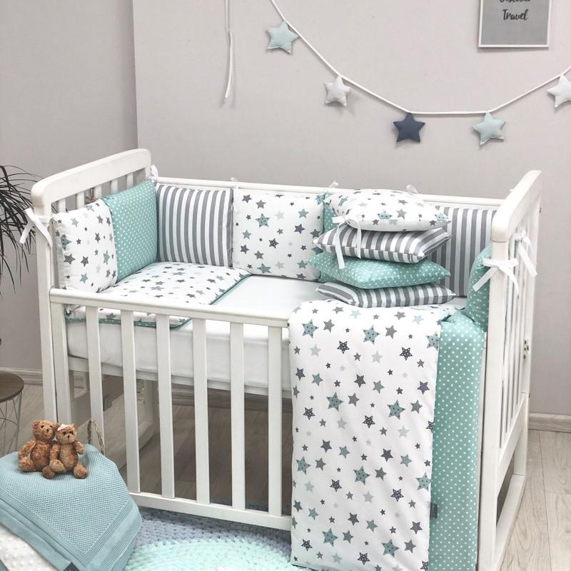 Постельное белье для новорожденных в кроватку Baby Design Stars мятный 120х60 см (6 пр)