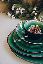 Набор 6 керамических зеленых тарелок Малахит 21 см, фото 3