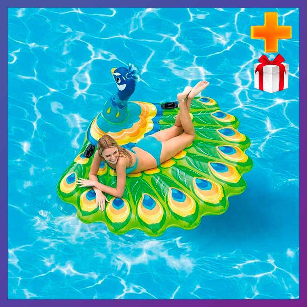 Надувной плот для катания Intex 57250 Павлин 193x163x94 см + подарок