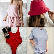 Текстильные изделия из разных тканей(пижамы, панамы, купальники, халаты, полотенца, спецодежда)