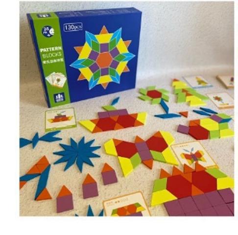 """Геометрическая мозаика """"Сложи узор"""" 130 деталей. С карточками-образцами."""