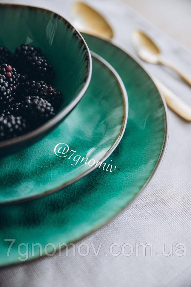 Набор 6 керамических зеленых тарелок Малахит 21 см