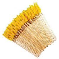 Щеточки нейлоновые для ресниц и бровей желтые с блестками, 50 шт