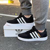 Мужские летние кроссовки Adidas black / Обувь Адидас черные новинка сетка повседневные