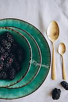 Набор 6 больших обеденных керамических зеленых тарелок Малахит 27,5 см, фото 3