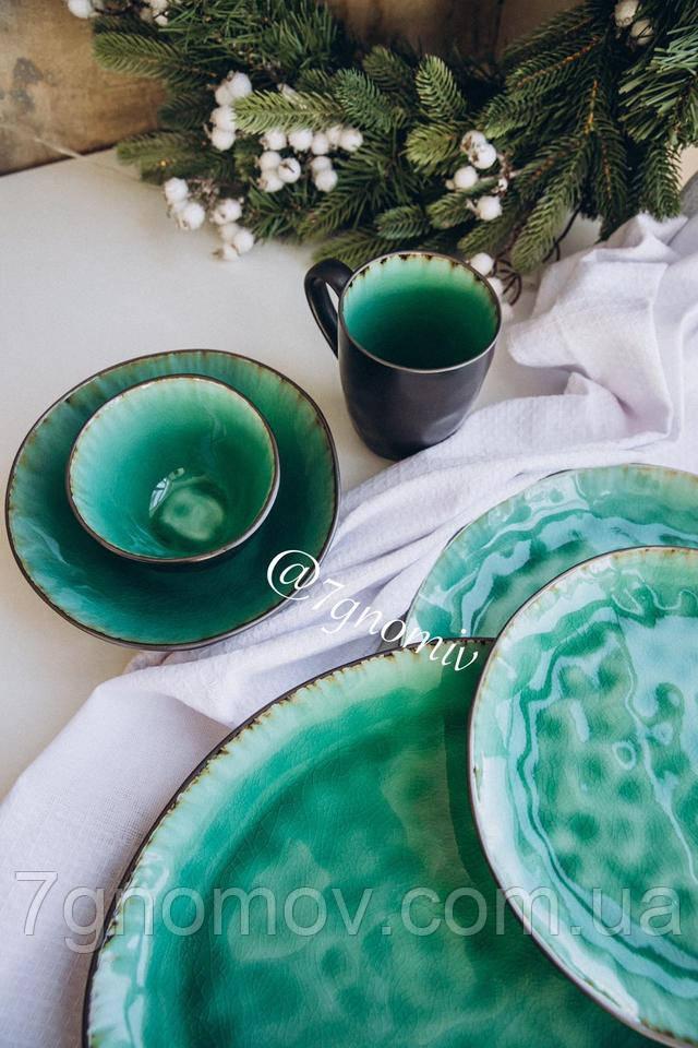 Набор 6 больших обеденных керамических зеленых тарелок Малахит 27,5 см