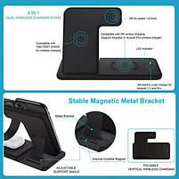 Бездротова зарядка док-станція MICRONIK Q20 4в1 швидка зарядка для Android iWatch AirPods iPhone чорна, фото 8