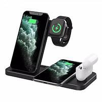 Бездротова зарядка док-станція MICRONIK Q20 4в1 швидка зарядка для Android iWatch AirPods iPhone чорна, фото 6